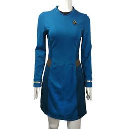 Wholesale star trek uniforms - Star Trek Beyond Costume Cosplay Carol Marcus Blue Dress Female Blue Uniforms Halloween Cosplay Costume New