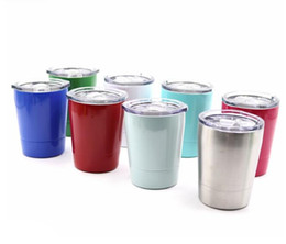 Wholesale Stainless Steel Mug Cup - Wine Glasses Stainless Steel Tumbler 8.5oz Cups Travel Vehicle Beer Mug Non-Vacuum Mugs With Straws&Lids 50PCS