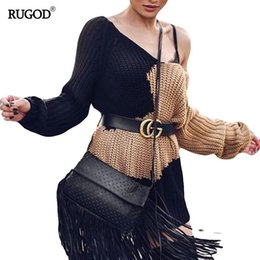 Wholesale Plus Size Off Shoulder Sweater - RUGOD Women Long Loose Off Shoulder Knitted Pullover Sweater Color Patchwork Winter Sexy Female Sweater Plus Size KnitwearJumper