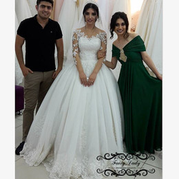 Wholesale Sexy Vogue Wedding Dress - Vogue 3 4 Full Sleeves Beading Wedding Dresses 2018 Sheer Lace Appliques White Long Puffy Ball Gown Customize Bridal Dress Gowns For Women