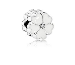 Wholesale Wholesale Pandora Cherry Blossom - Fit Sterling Silver Bracelet Anti Dropping White Cherry Blossom 3mm European Stopper Clip Lock Charm Fits pandora Bracelet jewelry findings