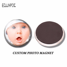 Wholesale Magnets Custom - Personal Custom 30 MM Fridge Magnet Photo of Your Lovers Baby Family Glass Magnetic Refrigerator Stickers Note Holder Home Decor