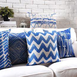 Cuscini plaid blu online-Acquerello Cuscino geometrico Covers Blue Plaid Wavy Stripe Plaid Spessa biancheria in cotone cuscino 9 Styles 45X45cm 30X50cm Bedroom Sofa Decor