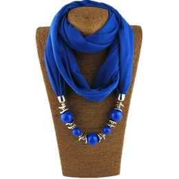 Wholesale Tassel Fringe Necklace - Silk Scarf Necklace Blue Resin Bead Pendant Neckerchief Scarves Women Fringe Ethnic Maxi Tassel Necklaces 2018 New Statement Jewelry Bijoux
