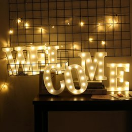 Wholesale 3d Sign Letters - New Arrival 3D Letters and Arabic Numerals Sign Design Glowing Night Light for Wedding Christmas Birthday New Year Decoration