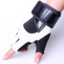 Wholesale Fitness Body Building - PU Leather Stitching Guantes Gym Gloves Body Building Exercise Training Weight Lifting Fingerless Fitness Gloves For Men Women