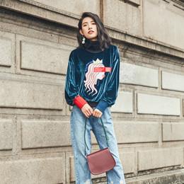 Wholesale Vintage Tracksuits Women - LYFZOUS New Harajuku Vintage Sweatshirt Women Turtleneck Cartoon Print Velour Sweatshirts Autumn Casual Loose Tracksuit Moletom