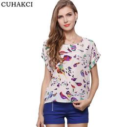 Wholesale White Blouse Crosses - CUHAKCI Summer Women Sunflower Bird Chiffon Print Blouse Stripe Plaid Shirt Cross Love Blouse Short Sleeve Blue Lipstick Shirts