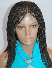 Wholesale American Wigs - Micro Braided Lace Front Wigs Synthetic Lace Front Wig Hot Sale Wig Black Women African American Braided Havana Twist Lace Wig Free Shipping