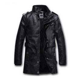 Wholesale Warming Waist Belt - Wholesale-2017 New Fashion PU men Leather Jacket BLACK Thick Winter jacket men Warm Wool Liner thick Biker Jacket brand overcoat