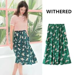 Withered 2017 women skirt Tropical bohemian bird printing vintage beach  pocket button knee length pure cotton skirts women d3d68b8e8caa