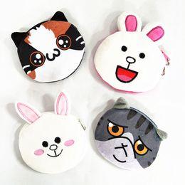 Wholesale Plush Rabbit Purse - M061 Cute Cartoon Women Purses Plush Coin Purse Smiling Rabbit Wronged Cat Happy Cat Laughing Rabbit Pendant Wallet
