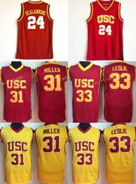 USC Trojans Colégio 24 Brian Scalabrine Jersey 31 Matt Miller 33 Camisola de Basquetebol Lisa Leslie University Team Cor Vermelha Branco Away Qualidade de
