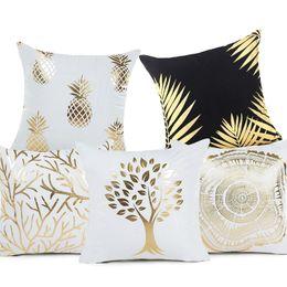 Wholesale decorative bohemian pillows - Plant Bronzing Cushion Cover Tropical Plant Cotton Polyester Bohemian Printed Marine life Home Decorative Pillow case
