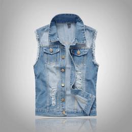 Chaleco de algodón azul online-2018 Cotton Jeans sin mangas de la chaqueta de los hombres más el tamaño 6XL azul oscuro denim jeans chaleco de los hombres vaquero de mezclilla chaleco de los hombres chaquetas