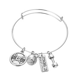 Wholesale Wholesale Faith Jewelry - Silver Color Fitness Bangle Bracelet With Brand Design Faith Message Dumbbell Barbell Charm Bracelets For Men Women Jewelry Gift