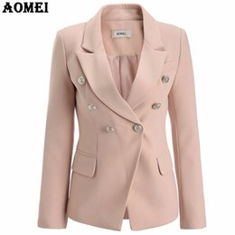 690b573b9d0 Pale Pink Blazer Wear to Work Office Lady Tops Clothing Fall Women New Button  Design Blasers 2018 Spring Fashion Coat ChaquetasY1882403