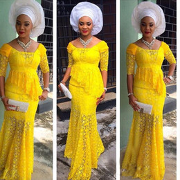 Wholesale Blue Peplum Shirt - Nigerian Yellow Full Lace Scoop Mermaid Prom Dresses Sexy Half Sleeve With Peplum Floor Length Long Formal Party Evening Gowns Custom Made