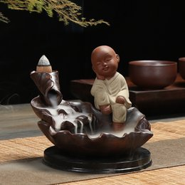 2019 керамический лотос ладан Backflow Incense Burner Purple Sand Buddhist Monk Lotus Ceramic Incense Burner Holder Aromatherapy Buddhist Censer Home Decor дешево керамический лотос ладан