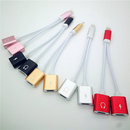 Wholesale Iphone Cord Adapter - 2018 Hottest 4 in 1 Charge and Audio Iphone 7 Earphone Headphone Jack Adapter Connector Cable 3.5mm Female Headset Connector Cord