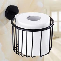 Wholesale Toilet Paper Shelf Holder - black Stainless steel Bathroom Shower Room Toilet Paper Basket Holder Round Tissue Rack Shelf Wall Mounted