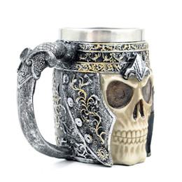 Caneca do copo de café 3d on-line-Drinkware Criativo Canecas de Café Dupla Parede 3d Canecas Caneca de Café Caneca Cavaleiro Caneca Dragão Drinking Cup Para Decoração de Halloween