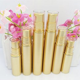 Wholesale dispenser pump spray - 5 10 15 20ml gold airless cream pump container travel cosmetic lotion bottle with airless dispenser spray bottle F20173543