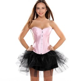 bee8501c85cb1 Women Satin Loss Weight Corset Lace Up boned Bustier with tutu Skirt Sexy  Ture colors Corset Dress