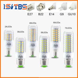 Wholesale 1w Led Light Bulb - SMD5730 E27 GU10 B22 E14 G9 LED lamp 7W 12W 15W 18W 20W 220V 110V 360 angle SMD LED Bulb Led Corn light