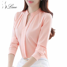 Wholesale Formal Tops For Ladies - SSLine Women Blouse Tops Long Sleeve Spring Autumn Casual Chiffon Blouse Female V-Neck Work Wear Solid Office Shirts For Ladies