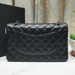 Wholesale Gold Hardware - High Quality women's Brand Letter Caviar leather Handbag 25.5CM Double Flap Bag Fashion Shoulder Bags Plaid Chain Bag with gold hardware