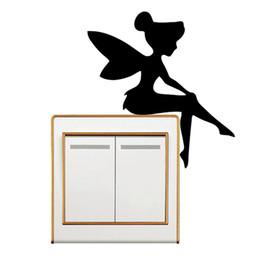 2019 mur d'escalade Mary Poppins Silhouette Commutateur Autocollant Fille Sticker Pépinière Mur Décor Escalade Lumière Interrupteur Autocollant Fée Assis promotion mur d'escalade