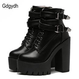 bea768afda365c schwarze schnürung fersenstiefel Rabatt Gdgydh 2018 Herbst Mode Frauen Stiefel  High Heels Plateau Schnalle Lace Up