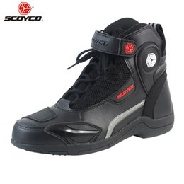 Wholesale urban boots - SCOYCO Motorcycle Boots Urban Stivali Botas Moto Motosiklet Bot Mens Biker Shoes Motociclista Bottes Racing P663953 Black