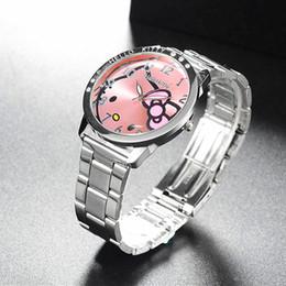 Olá presente do relógio da vaquinha on-line-Cheio de aço olá vaquinha relógio de quartzo das mulheres relógio de pulso dos desenhos animados bonito relógios crianças 3d cristal moda relojes presente de natal
