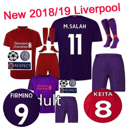 Top quality M.SALAH Children Football shirts 2018 2019 home away Soccer  Jerseys Set socks patch 18 19 VIRGIL MANE SHAQIRI shirt Set 67e3505da