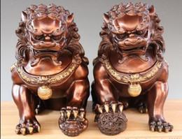 Löwe foo fu hund statue online-China Royal Palace Feng Shui Kupfer Bronze Fu Foo Dog Guardion Lion Tier Statue