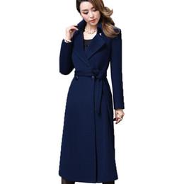 5XL tallas grandes otoño invierno abrigo de lana para mujer abrigos de lana de cachemira 2018 Nueva calidad superior prendas de vestir exteriores manteau largo femme hiver Z371 L18100706 desde fabricantes
