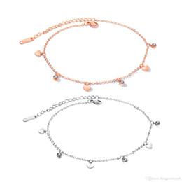 2019 tobilleras de acero Las mujeres aman el corazón cadena de pie tobillera plata / oro rosa moda tobilleras de acero inoxidable joyería para accesorios femeninos GZ060 tobilleras de acero baratos