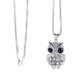 Зимние свитера совы онлайн-Модные Циркон длинное ожерелье свитер цепи мода тонкой металлической цепью Crystal Rhinestone Сова кулон ожерелья зимних ювелирных изделий