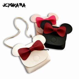 Monederos lindos hechos a mano online-JCYOKARA Kids Cute Mini Messenger Bag Baby Girls Bolso hecho a mano pequeño monedero para niños INS Hottest Bowtie 3 colores