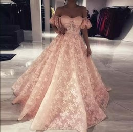 Discount full size party dresses - 2018 Charming Elegant Full Lace Prom Dresses Short Sleeves Off the Shoulder A Line Long Prom Evening Gowns Formal Party Pageant Gowns