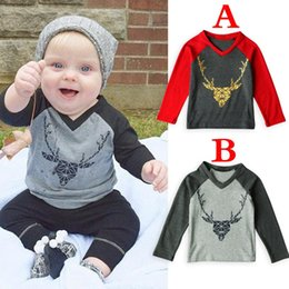 baby boy winter tshirts Promo Codes - Xmas Christmas ELK BOYS cotton DEER V NECK T-shirts Elk Bear Baby Childrens tshirts Clothing Cartoon Letters Long Sleeve Infant Tshirts