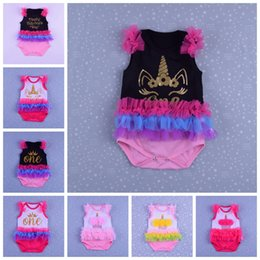 Wholesale colorful rompers - Unicorn 1st Birthday Cotton Infant Rompers Baby Toddler Infant Clothes Colorful Lace Princess Tutu Jumpsuits cake Valentine day print