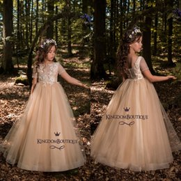 Wholesale Short Pageant Dresses For Kids - 2018 New Flower Girl Dresses For Garden Country Forest Weddings Princess A-line Sheer Short Sleeves Appliques Kids Birthday Pageant Dress