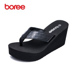 Wholesale Thick Sole Platform - Boree Summer New Women's Fashion Flip Flops Casual Shoes Soft Patent Leather Platform Thick Soled Beach Slippers SDL0030