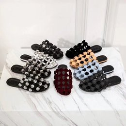 Wholesale Cutout Fashion - 2018 spring summer womens black red Burgundy suede real leather luxury flat Mules cutouts Moccasins Slippers slip on sandals slides