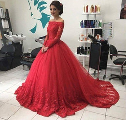 Womens Evening Gowns Robe Longue Manche Longue Soiree 2017 Bateau Red Tulle  Ball Gown Prom Dresses Long Sleeved Evening Dresses 77634fae66be