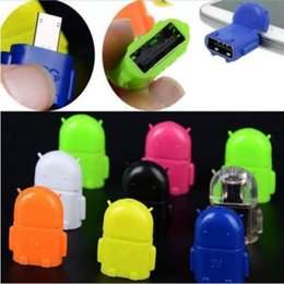 Wholesale Robot Cables - Android Robot OTG Cable Micro 5pin to USB Adapter for Tablet Computer U-Disk Keyboard MI HTC LG Smartphone