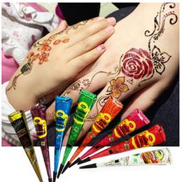 Henna tatuagens mãos on-line-Henna Mehandi Cone Hot Mão Body Art Paint Makeup DIY Desenho Indiano Tatuagem de Henna Colar Cone À Prova D 'Água 25g